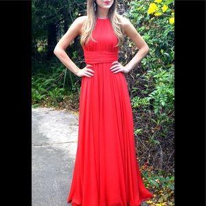 Dresses & Skirts - Badgley Mischka Ruby Red Chiffon Empire Gown 6